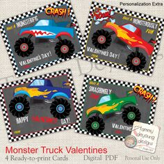 Monster Truck Valentine Cards for Kids *Boys Valentines* School Valentines Day DIY Printable for classmates, personalization extra by songinmyheart on Etsy