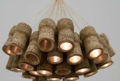 Champagne Chandelier 600x406 Chandelier from recycled Champagne corks in lights with cork Chandelier champagne diy - lamp