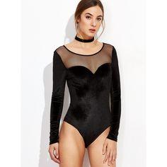 Black Illusion Neckline Velvet Bodysuit ($16) ❤ liked on Polyvore featuring intimates, shapewear and black
