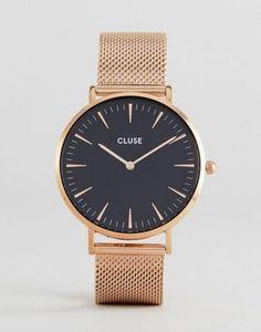 CLUSE CL18113 La Bohème mesh watch in rose gold black bd25673d6fa