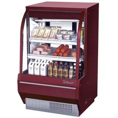 "Turbo Air TCDD-36-2-H Red 36"" Curved Glass Refrigerated Bakery Display Case - 10 cu. ft."