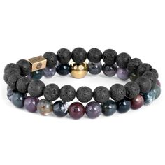 Buy Lucleon - Blue Agate & Lava Miro Bracelet for only Shop at Trendhim and get returns. We take pride in providing an excellent experience. Bracelet Cuir, Bracelet Set, Bracelet Making, Bracelets Design, Bracelets For Men, Beaded Bracelets, Leather Bracelets, Stone Bracelet, Diy Jewelry Making