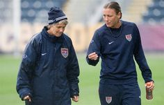 The coach and the veteran. (The WNT Blog, U.S. Soccer)