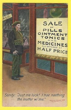 1909 c. Bamforth Humor Postcard  Series 1449    Pharmacy Medicine Chemist