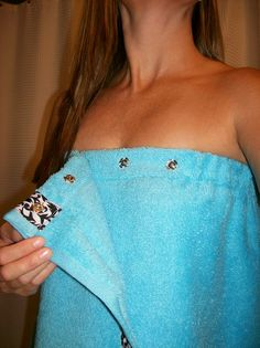 Spa Towel Wrap with SNAPS on Etsy.. cheaper and easier to make myself? great idea though!