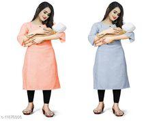 Kurtis & Kurtas Women's Solid Cotton Maternity Kurtis and Feeding Kurtis Fabric: Cotton Sleeve Length: Short Sleeves Pattern: Self-Design Combo of: Combo of 2 Sizes: XL (Bust Size: 42 in, Size Length: 42 in)  L (Bust Size: 40 in, Size Length: 42 in)  M (Bust Size: 38 in, Size Length: 42 in)  XXL (Bust Size: 44 in, Size Length: 42 in)  Fit Shape : Maternity Kurtis  Country of Origin: India Sizes Available: M, L, XL, XXL   Catalog Rating: ★4 (213)  Catalog Name: Aagam Alluring Maternity and feeding Kurtis CatalogID_2255798 C74-SC1001 Code: 076-11878306-9081