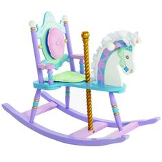 Removable padded backrest and seat cushion Silky satin mane & ears Gilded carousel pole This beautiful rocking horse is an imaginative tribute to your child's favorite merry-go-round horse. With a pla