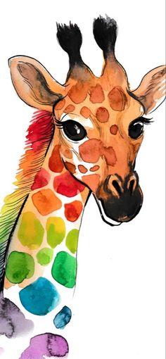 Watercolor Artwork, Watercolor Animals, Watercolor Illustration, Giraffe Illustration, Watercolor Images, Animal Illustrations, Watercolour, Giraffe Painting, Giraffe Art