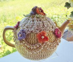 Yellow Crochet Tea Cozy Victorian Tea Cozy Belle of the Ball