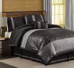 (Click to order - $100.99) Lush Decor Metallic Animal 6-Piece King Comforter Set, Black/Silver From Lush Decor