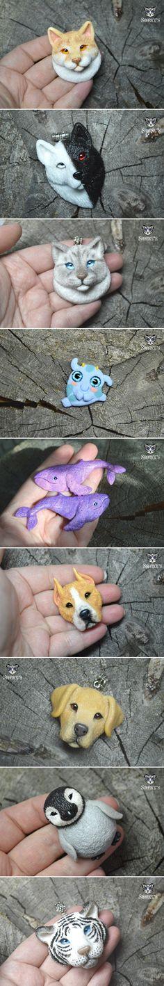 Вот вам еще моих зверей)) Ручная работа из полимерной глины полимерная глина, кот, тигр, лабрадор, Стафф, кит, волк, длиннопост