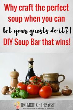 soup bLooking for your next hostessing win? This DIY soup bar is genius! All guests love it and its SO EASY!! Love this fab add-in ingredient idea! #DIY #soup #soupbar #hosting #hostess #party #partyfood #DIYsoup #souprecipe #recipe #DIYsoupbar #feedacrowd #recipewin #familyfriendly #familyfriendlyfood #familyfood #wowyourguests