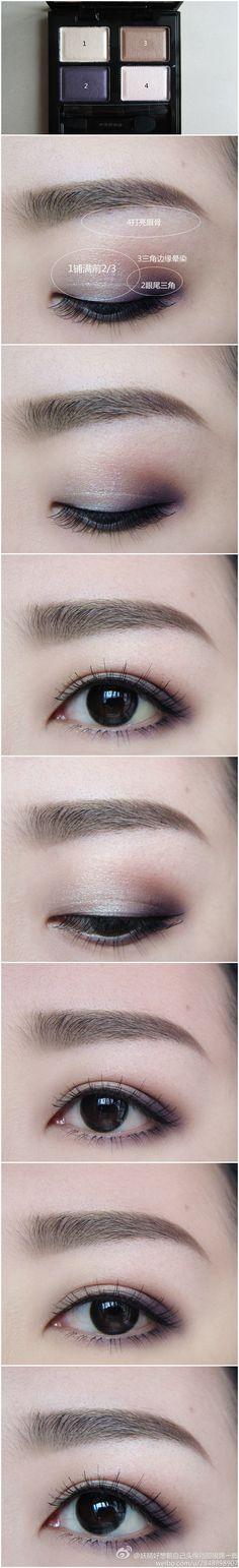 Show you how to apply beautiful purple smokey eye makeup