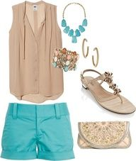 Polyvore Summer Outfits With Shorts | Cute shorts outfit for Summer.