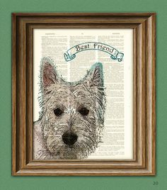 West Highland White Terrier Westie dog beautifully upcycled vintage dictionary page book art print PERSONALIZED. $7.99, via Etsy.