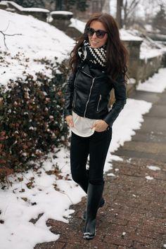 leather jacket + black pants
