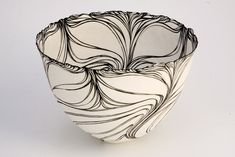 Foliated Vessel III, 2008, coiled porcelain - Cheryl Malone