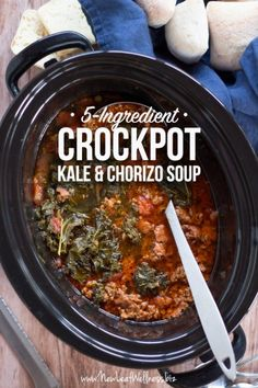 crockpot kale & chorizo soup is simple, healthy, and flavorful. Healthy Crockpot Recipes, Slow Cooker Recipes, Paleo Recipes, Healthy Soup, Healthy Chili, Easy Recipes, Dinner Recipes, Whole30, Freezer Soups