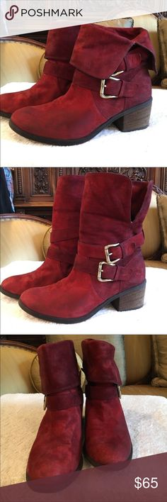"""Donald J. Pliner Red Leather boots ❤️ Donald J. Pliner Red leather boots. Can be worn two ways. Rolls up or down. 2"""" heal. Smoke free home.  Next day shipping. Please feel free to ask any questions. Thank you for shopping my closet. Offers always welcome❤️ Donald J. Pliner Shoes Ankle Boots & Booties"""