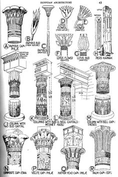 Types of Architecture | Capitals mostly follow the forms of the lotus (emblem of Upper Egypt ...