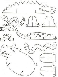 """Dieren op standaardjes. Leuk voor bij de """"Krr-krr-krokodil""""?? #tabletoppuppetry #storytelling"""