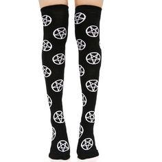 Killstar Pentagram Over The Knee Socks ($22) ❤ liked on Polyvore featuring intimates, hosiery, socks, graphic socks, white socks, white hosiery, above the knee socks and overknee socks