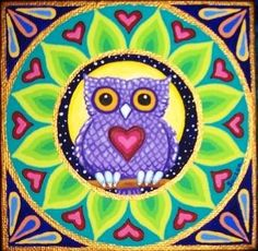 """""""Little Purple Owl"""" mandala by Soozie Wray Visit https://www.facebook.com/pages/Soozie-Wray/251726351630816"""