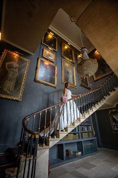 Stair case photo - Charlotte and Nick at Stubton Hall by Crash Taylor