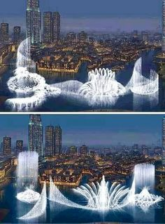 Worlds biggest water fountain. Dubai.