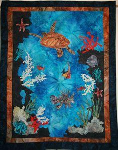 Cynthia Minoll at Etsy: Contemporary Art Quilt, Turtle, Ocean Art, Handmade Underwater Theme. Love Underwater Quilts!