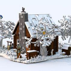Hunting Lodge in Wintertime - Lego - Lego Christmas, Xmas, Lego Winter, Lego Building, Legoland, Lego Creations, Lego City, Winter Time, Legos