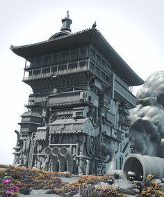 CGTalk - HCR MINI-Challenge #42: Goodbye Ghibli - Spirited Away's Bath House