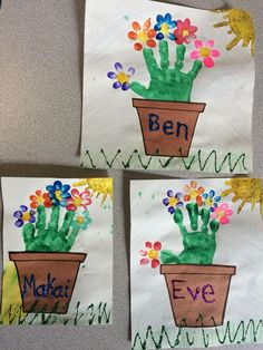 Spring has sprung! we made these cute handprint flowerpots with fingerprint pet. Spring has sprung Mothers Day Flower Pot, Mothers Day Crafts, Valentine Day Crafts, Spring Crafts For Kids, Craft Projects For Kids, Art For Kids, K Crafts, Easy Crafts, Flower Pot Crafts