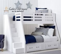 Treehouse Loft Bed Belden Twin-over-Full Stairloft Bunk Treehouse Loft Bed, Loft Bunk Beds, Modern Bunk Beds, Full Bunk Beds, Bunk Rooms, Bunk Beds With Stairs, Kids Bunk Beds, Boys Bunk Bed Room Ideas, Bunk Beds For Toddlers