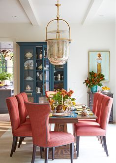 Designer Sherry Hart selected a pair of Lorford Smoke Bell Lanterns by E. Chapman for their captivating glow. The Mercury Glass finish offers shimmering warmth to the sunlit space. Home Design, Interior Design, Color Interior, Design Ideas, Cosy Home, Southern Homes, Dining Room Design, Room Set, Home Projects