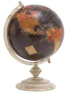 The DecMode 11 in. Metal Desk Globe offers a contemporary take on the classic globe. This handsome model features a whitewashed metal base and band.