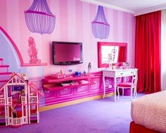 Beautiful Pink Purple Red Wood Unique Design Cool Kids Room Girl ...