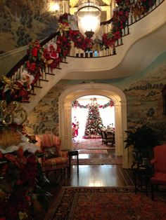 Ooooh ~ like a Fairy Tale mansion! Christmas Stairs, Merry Christmas, Southern Christmas, All Things Christmas, Winter Christmas, Christmas Home, England Christmas, Christmas Trees, Victorian Christmas