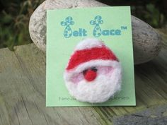 Jolly Santa face hand needle felted onto recycled wool fabric with a silver tone brooch back. These are hand made so your Santa may not be the one in the picture. Father Christmas, Christmas Crafts, Santa Face, Stocking Fillers, Wool Fabric, Needle Felting, Crochet Earrings, Heaven, Brooch