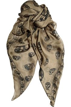 McQueen olive and black silk chiffon Skull scarf circa 2012 Chiffon Shawl, Silk Chiffon, Alexander Mcqueen Skull Scarf, Mcqueen 3, Alexandre Mcqueen, Love Clothing, How To Wear Scarves, Skull Print, Album