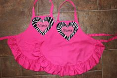 PERSONALIZED Hot Pink and Zebra Child's Ruffled Apron on Etsy, $18.50