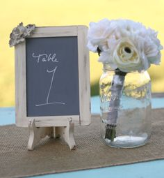 this is a pretty chalkboard frame for the table numbers