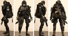 My first Kitbash - Modern Warfare (beware 16 images) - OSW: One Sixth Warrior Forum Tactical Suit, Statues, Armas Ninja, Military Drawings, Army Clothes, Military Action Figures, Military Guns, Body Poses, Figure Model