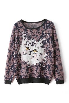 ROMWE | Cute Cat Knitted Dual-tone Jumper, The Latest Street Fashion