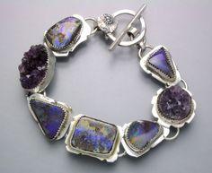 Sterling silver, opal & amethyst bracelet by Temi Kucinski on Etsy.