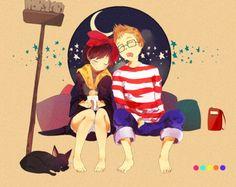Studio Ghibli couples are the cutest. Here's Tombo and Kiki Hayao Miyazaki, Kiki Delivery, Kiki's Delivery Service, Studio Ghibli Art, Studio Ghibli Movies, Illustration Photo, Illustrations, Geeks, Kimi No Na Wa