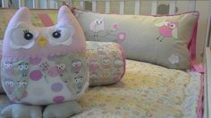 Kit berço patchwork menina coruja  www.ateliecolorir.com.br