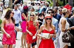 The Del Mar Thoroughbred Club, where the turf meets the surf. Thoroughbred horse racing from Southern California. Race Day Fashion, Thoroughbred Horse, Horse Racing, Bikinis, Swimwear, Horses, Game, Celebrities, Inspiration