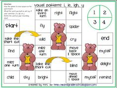 Vowel Patterns i, ie, igh, y board game.this site has alot of these games working on different phonic skills. Reading Tutoring, Teaching Reading, Learning, Early Reading, First Grade Reading, Phonics Activities, Classroom Activities, Classroom Ideas, Word Study