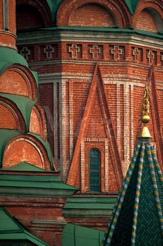Architectural detail of St. Basil's Cathedral. Moscow, Russia. Copyright Frank Siteman.